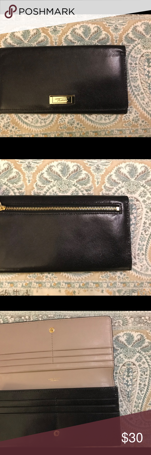 Tumi Black Wallet Black wallet, gently used unnoticeable small  imperfections, very clean inside and out Tumi Bags Wallets