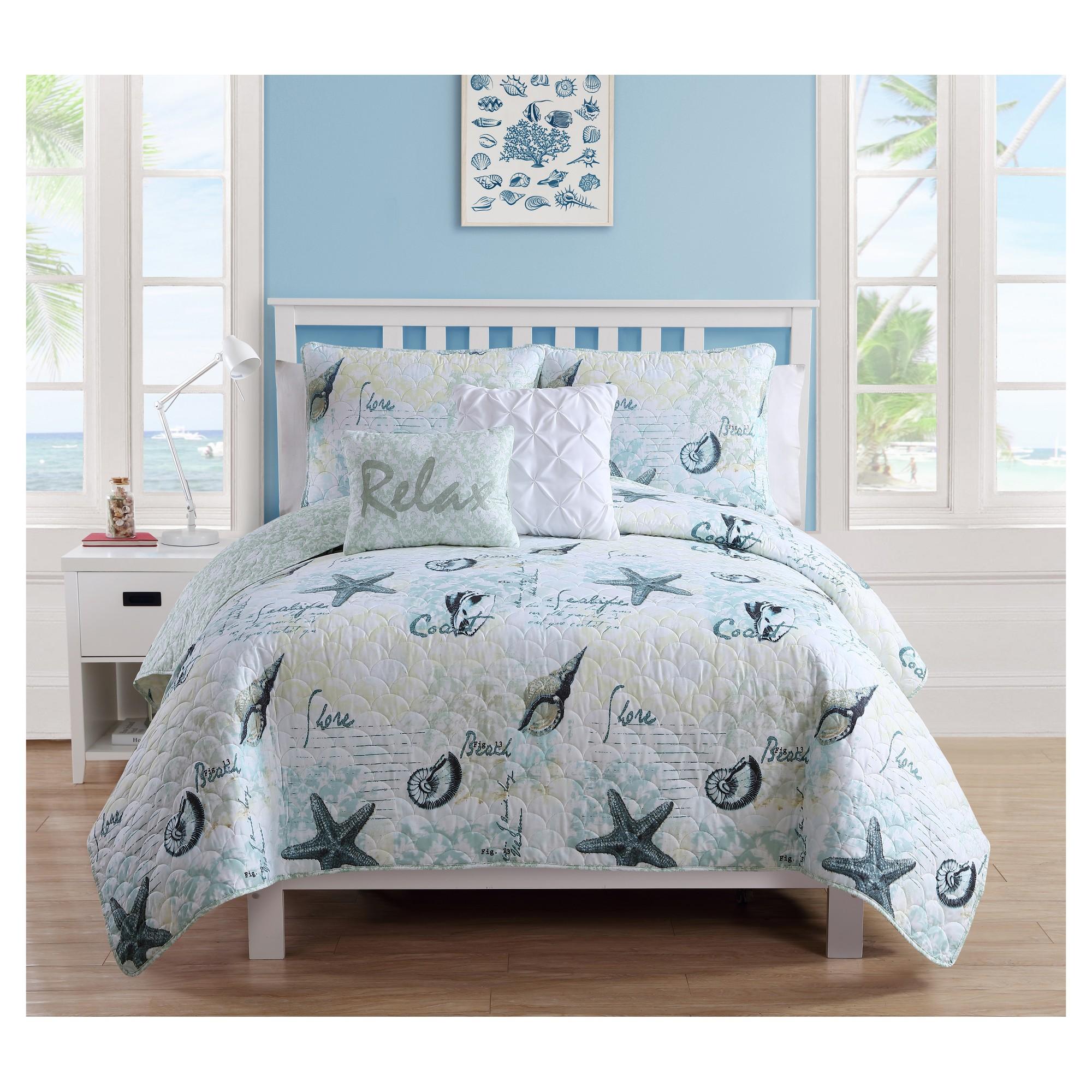 Blue Shore Life Quilt Set Full Queen Vcny Products