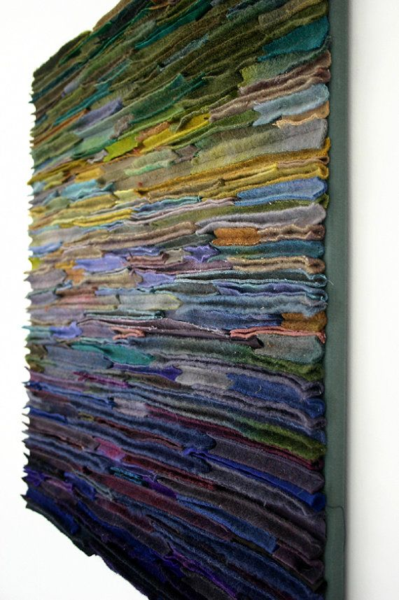 Items Similar To Wool Fiber Art Wallhanging Along The Stream Banks On Etsy Textile Fiber Art Wool Wall Hanging Art Quilts