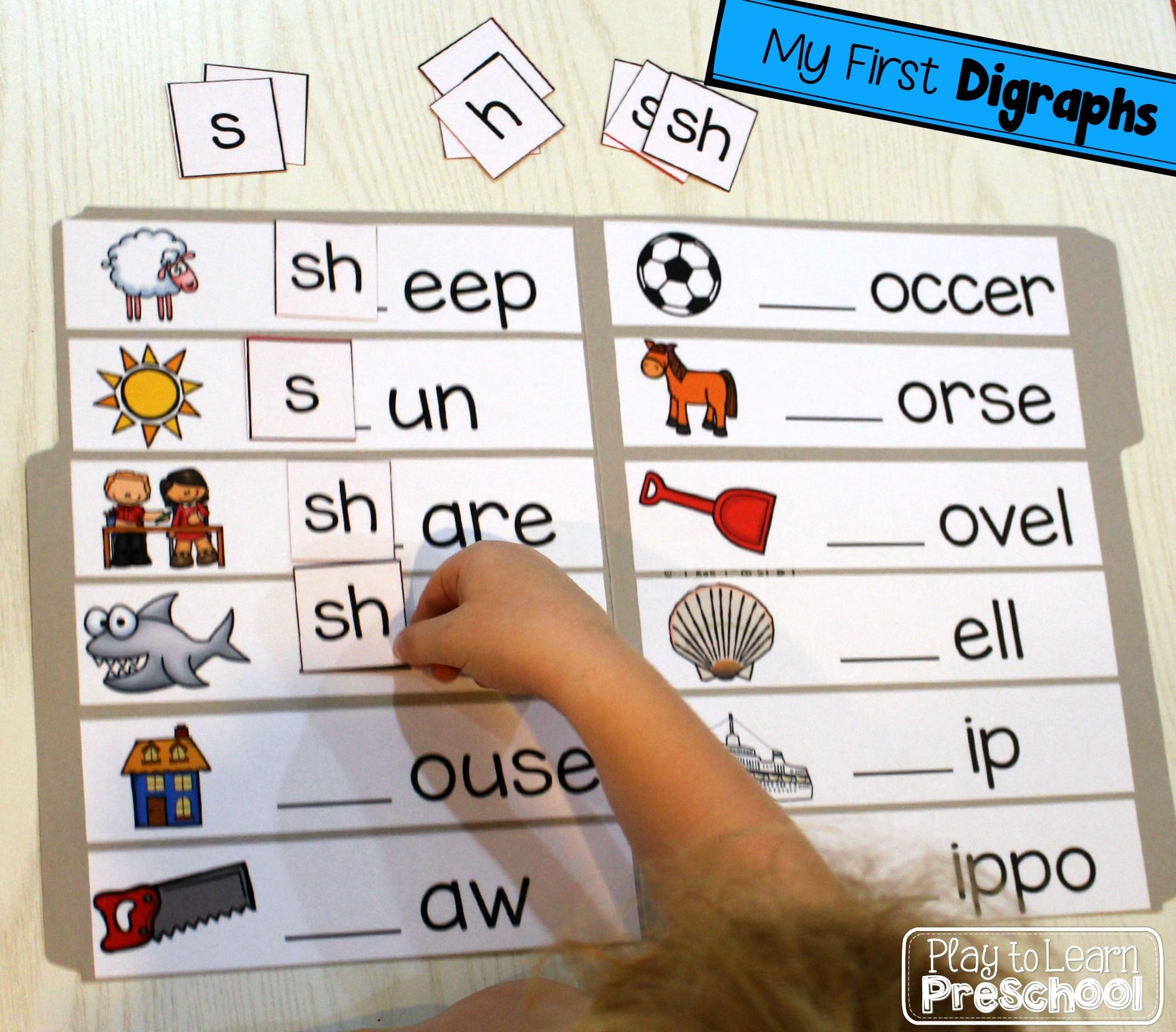 This is a great way to introduce beginning digraphs (sh, ch, th) to young learners. I love that it is hands-on.