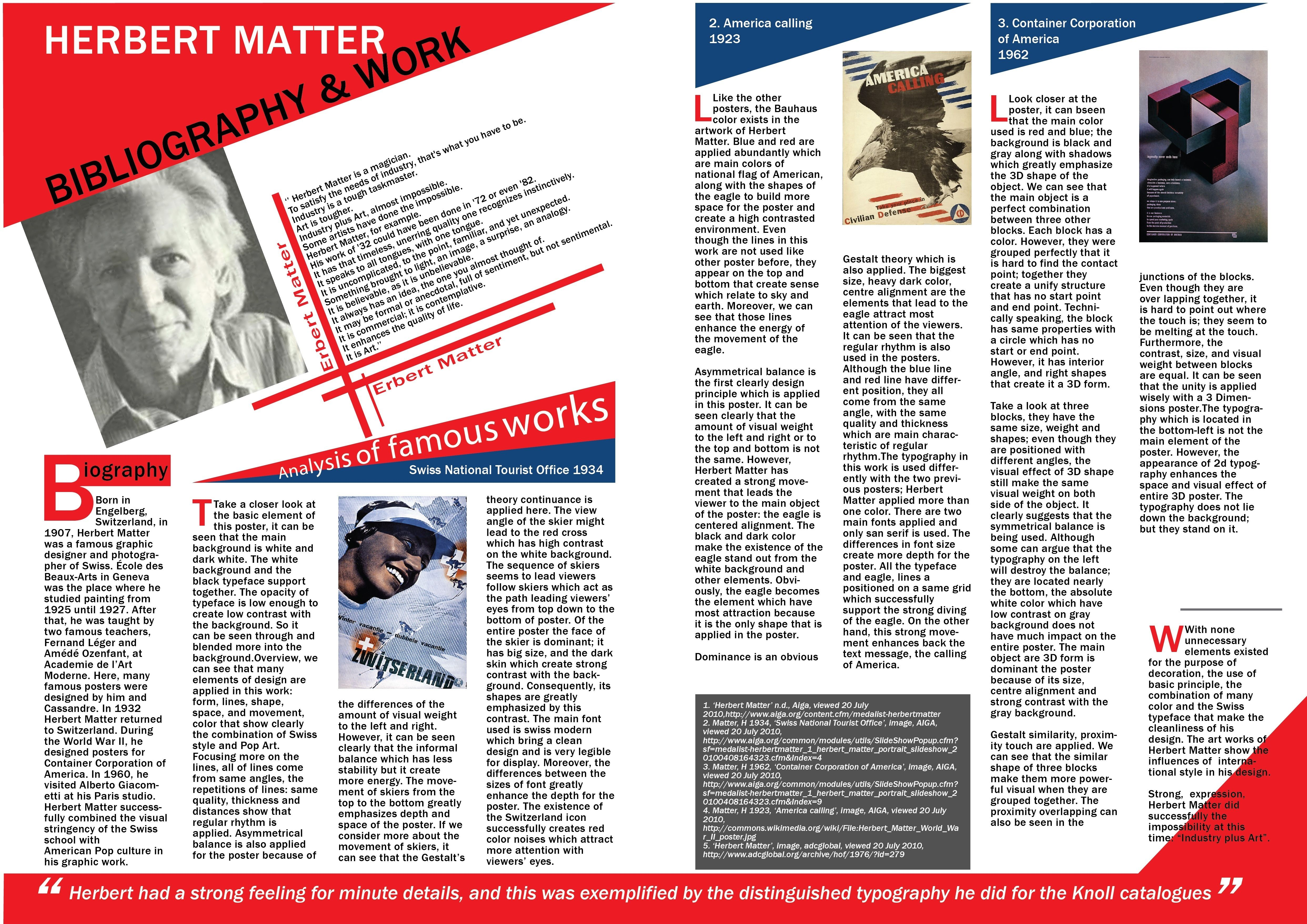 project  design one page for magazine with styles of herbert matter