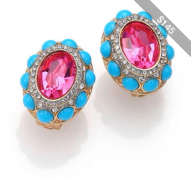 Kenneth Jay Lane Cabochon Cluster Clip-On Button Earrings