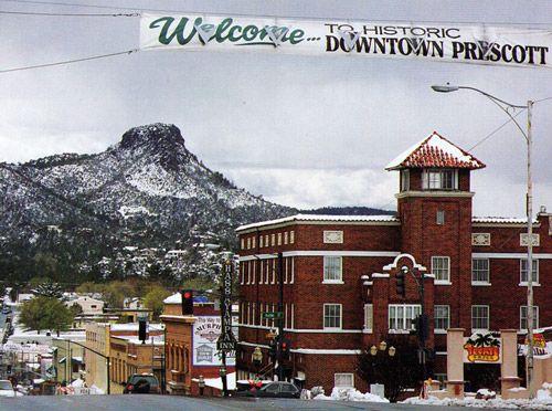 Historic Downtown Prescott Arizona The Hayampa Hotel In Foreground Gary I