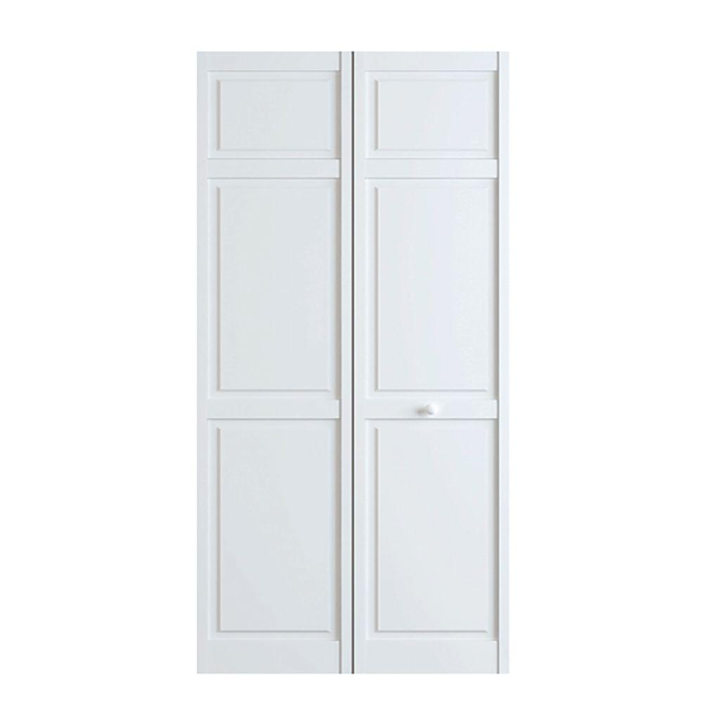 Kimberly Bay 36 In X 80 In White 6 Panel Solid Core Wood Interior Closet Bi Fold Door Dpbt6pw36 The Home Depot Bifold Doors Interior Closet Doors Wood Interiors
