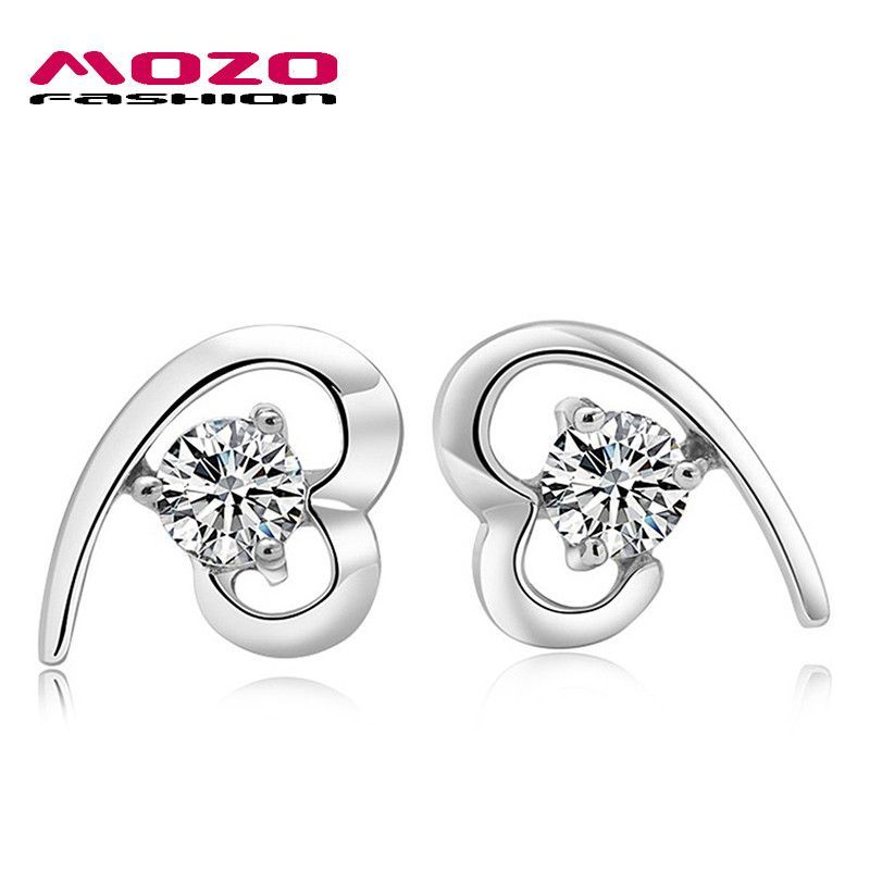 Wholesale 2016 New Fashion Jewelry Women 18k White Gold Plated Cubic Zirconia Heart Stud Earrings For Women/lady Gift MDE702