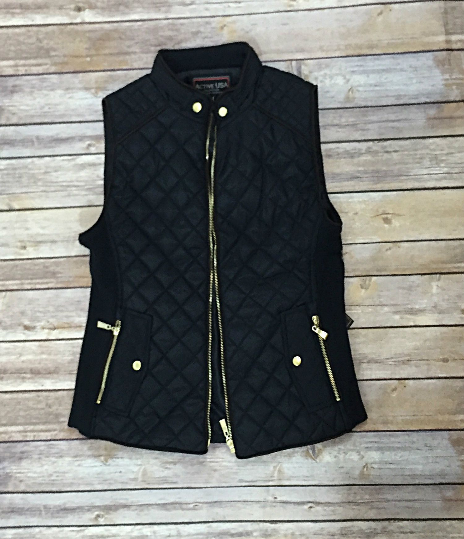 Black Quilted Vest with Gold accents