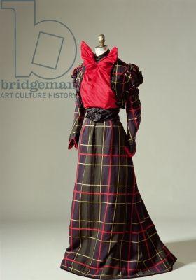 In SECRETS OF THE STORM; Galveston Hurricane Mystery Series Book 3, Dash's tartan suit.   1890s Walking Dress