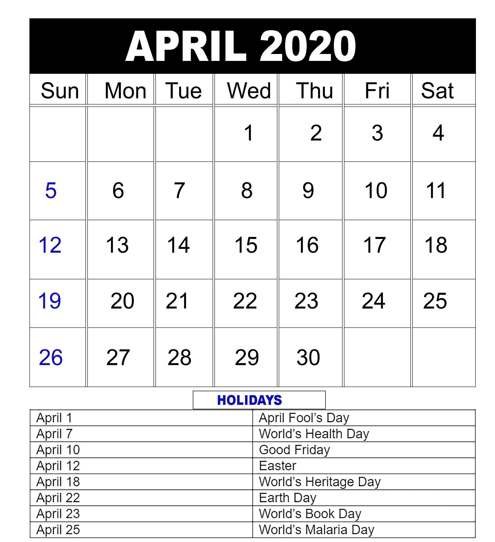 Blank April 2020 Calendar Editable Printable Template