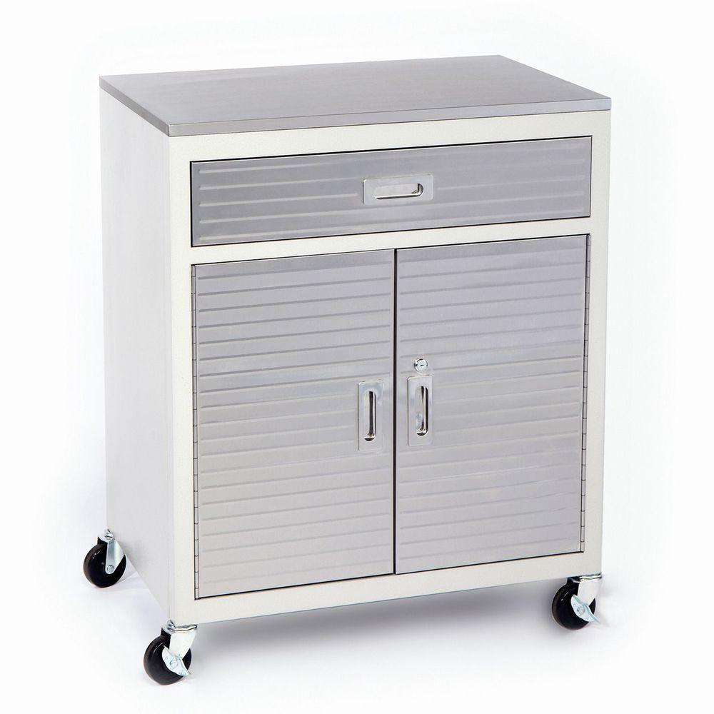 Garage Metal One Drawer Storage Tool Box Cabinet Stainless Steel Workbench  Top #SevilleClassics