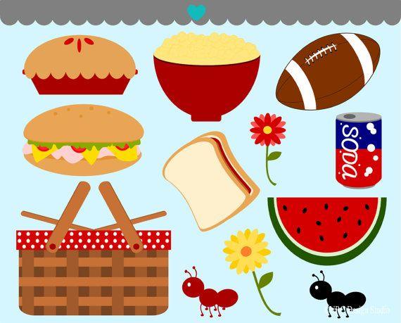 Food Clip Art - Family Picnic Clip Art - Digital Picnic Clipart ...