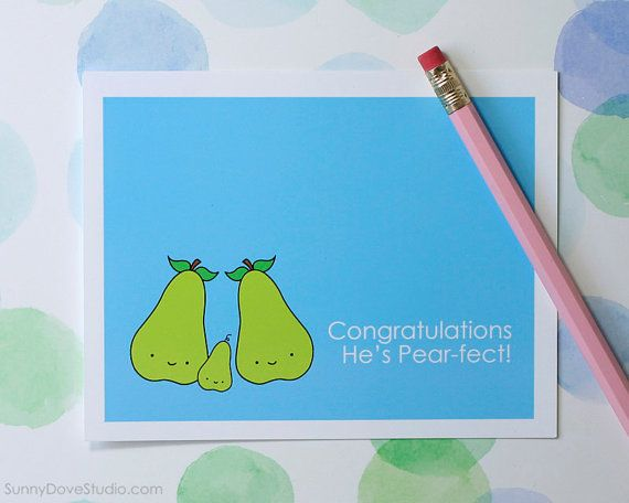 Hurray for the New Pear-ents Baby Card  Punny Fruit Expecting /& Baby Shower Greeting Card  Silly Pears Original Design Card