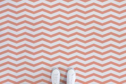 chevron-II-stripe-vinyl-flooring-orange-feet | Vinyl ...
