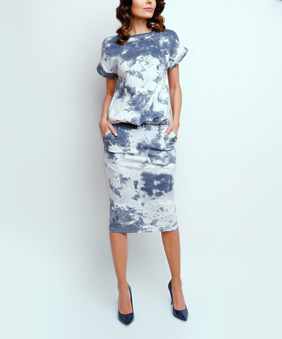 Look at this NAOKO Gray & White Tie-Dye Side-Pocket Blouson Dress on #zulily today!