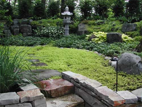 Berm Japanese Berms The Dry Garden Located Below The Lakeside Deck Was A Simple Solution Garden Design Garden Landscape Design Modern Garden Design
