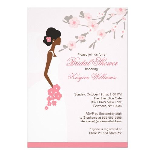 cherry blossom african american bridal shower card bridal shower