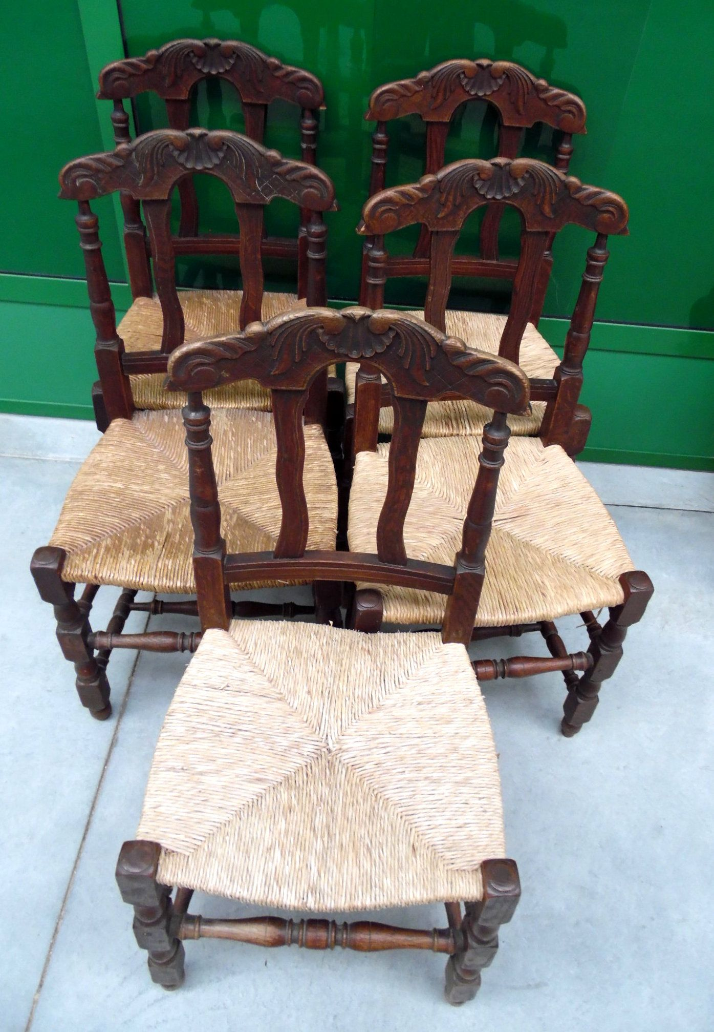 5 sedie seduta in paglia schienale scolpito francia for Sedie fenice design