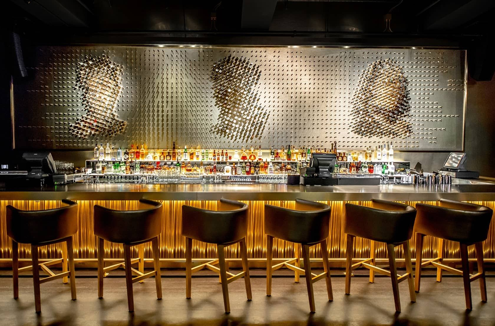 Giant Brass Pegs By Nema Workshop At Pov Washington Bar Wall Design Restaurant Interior Design Metal Restaurant