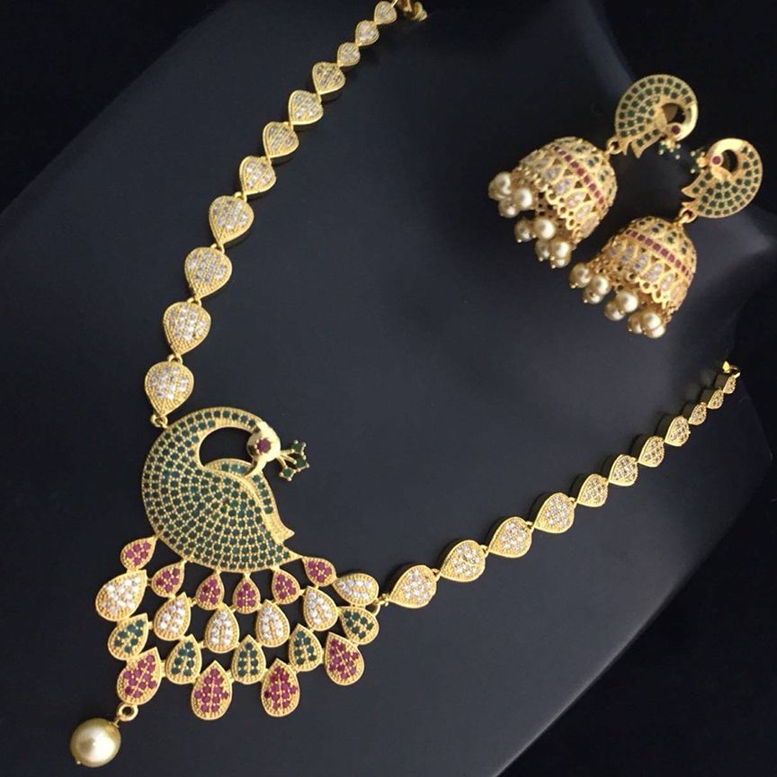 MUCH-MORE Traditional Unique Crystal Stone Floral Shape CZ Stone Indian Bollywood Necklace Set for Women