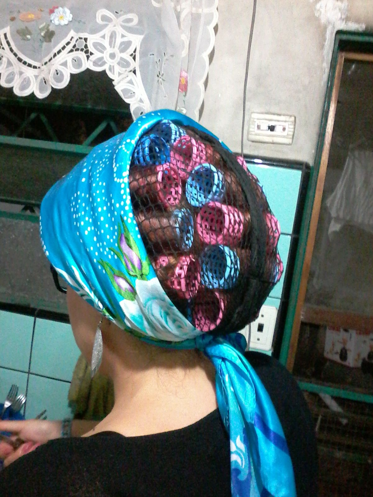 He obediently obeys his wife and covers his curlers so he ...