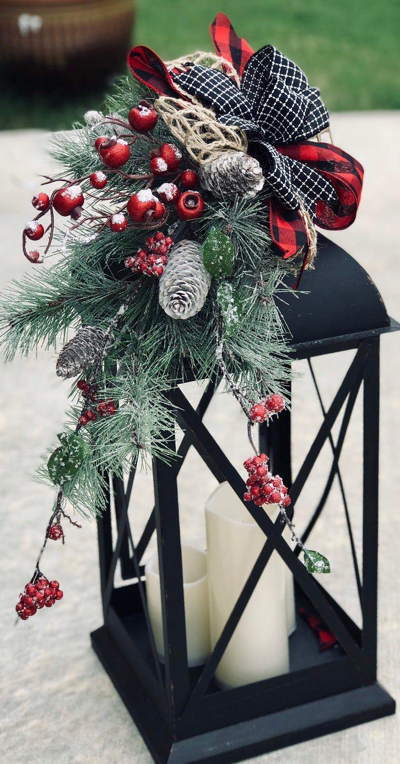 Large christmas lantern swag, winter lantern swag, woodland holiday decor, floral lantern swag, farmhouse decor, rustic, buffalo plaid check