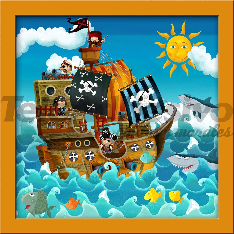 Adesivi per Bambini Pirate Ship Carta da parati per