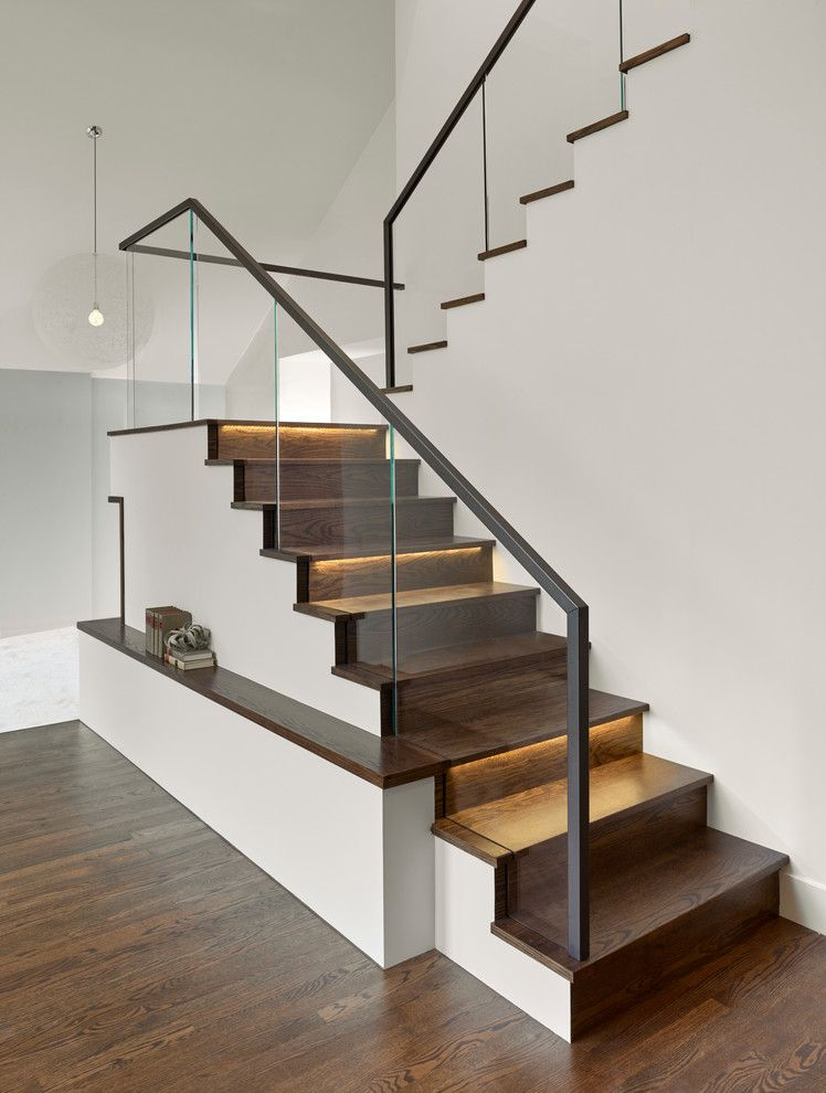 Modern Sleek Stairway Design Park And Pacific Design | Wooden Stairs Railing Design With Glass