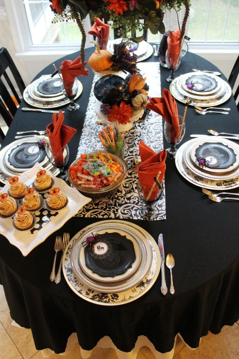 Halloween Centerpiece And Tabletop Decorations Ideas Black And