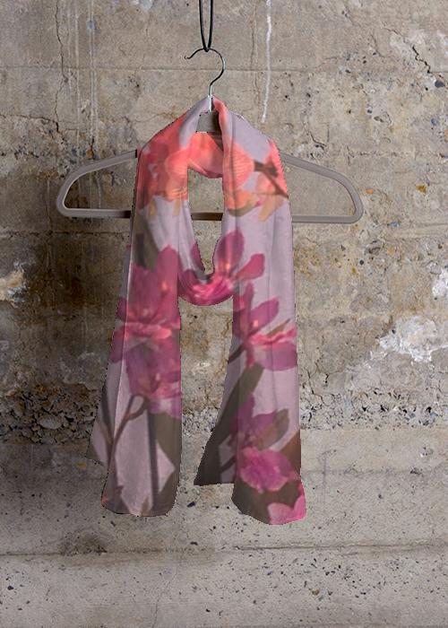 VIDA Design Studio Orchids by Kelley silk scarf @ ShopVida
