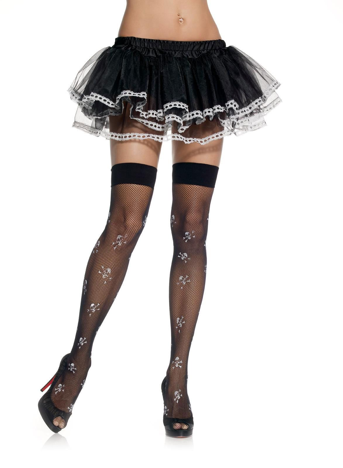 Skull and crossbones black lace stockings.