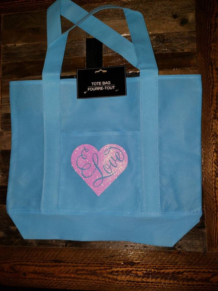 f6288a724 Large Turquoise Tote bag with pink glitter heart. Measures 17.5 x 14.75 in  Glitter Hearts