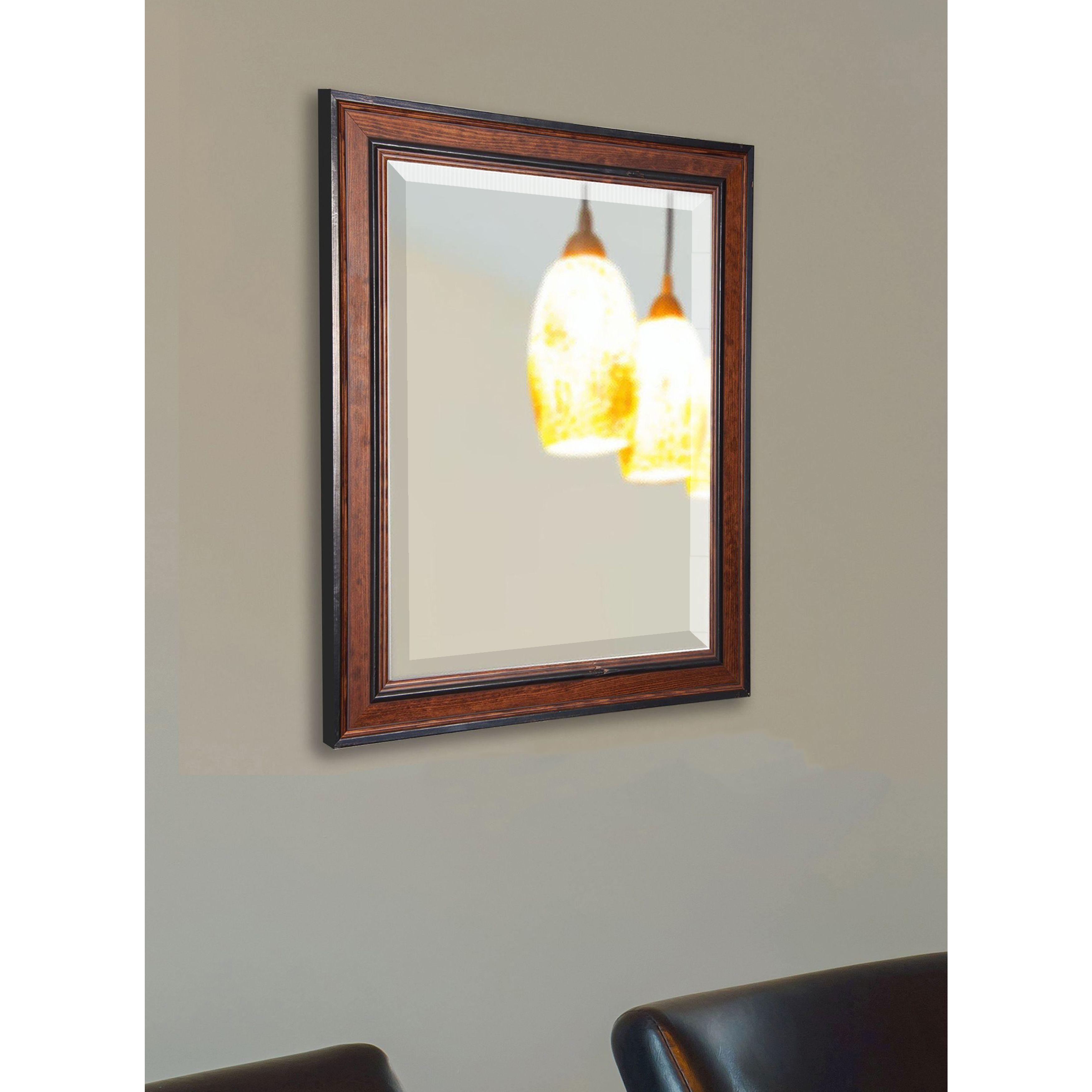 American Made Rayne Rustic Modern Pine Wall/ Vanity Mirror (31.5 X 35.5),  Black