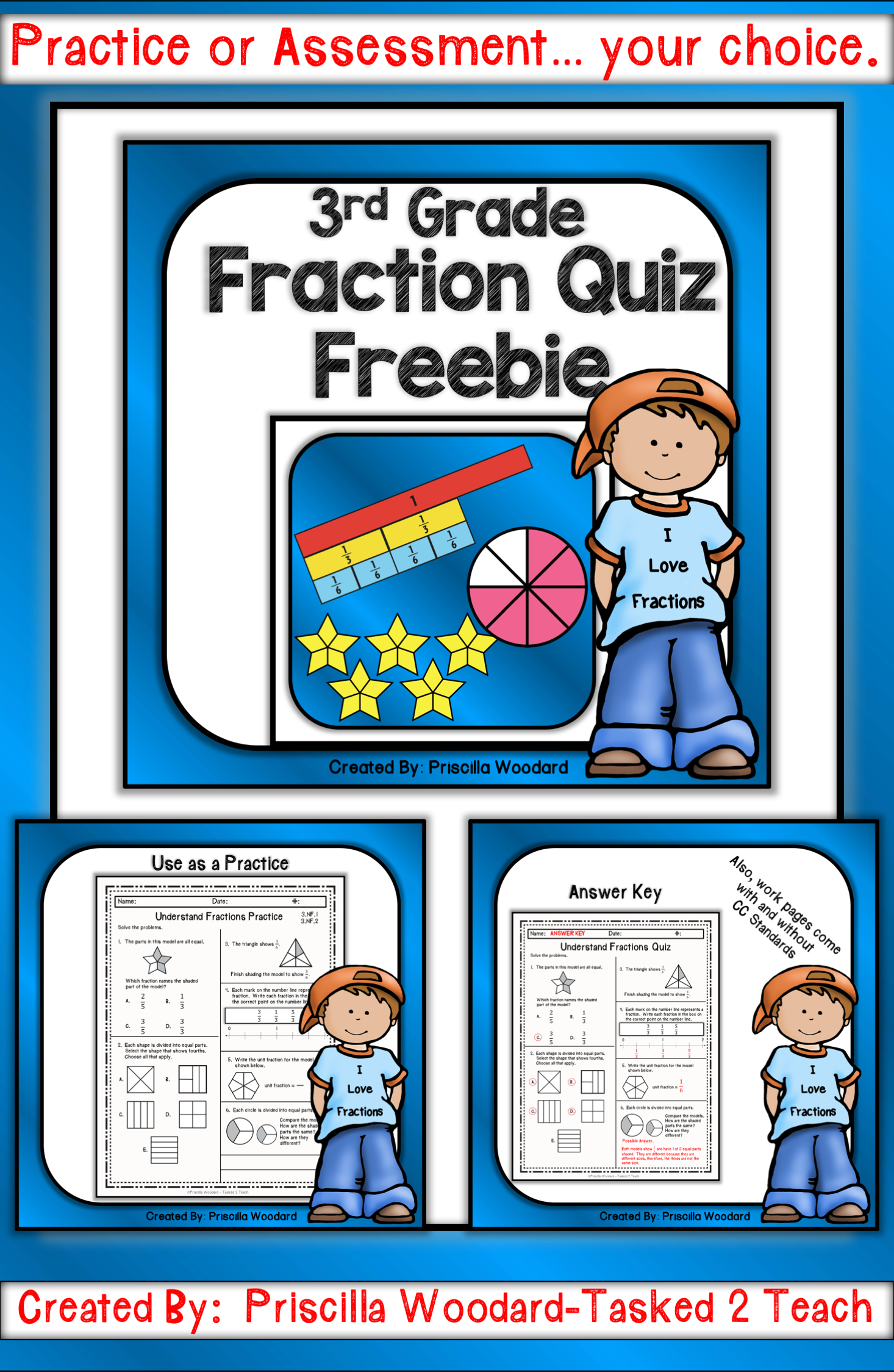 3rd Grade Fraction Worksheet Quiz Freebie