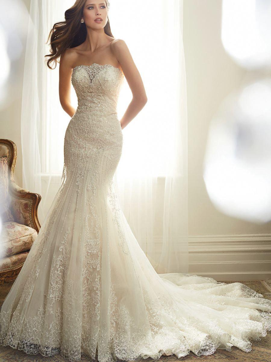 Tulle mermaid wedding dress  Fantastic Strapless Beaded Mermaid Bridal Wedding Dresses With Lace