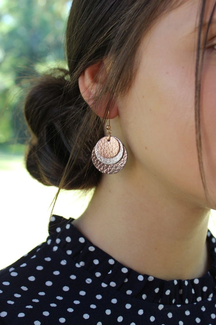 Photo of 25 + ›3-layer round leather earrings