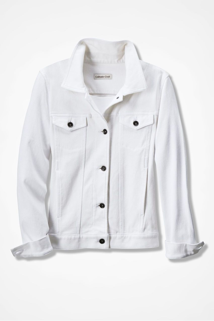 Would Like A White Denim Jacket Knit Denim Minimalist Wardrobe Capsule White Denim Jacket [ 1276 x 850 Pixel ]