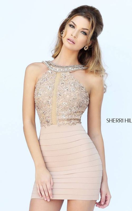 Sherri Hill 32228 Nude Bandage Cocktail Dress | Homecoming/ Prom ...