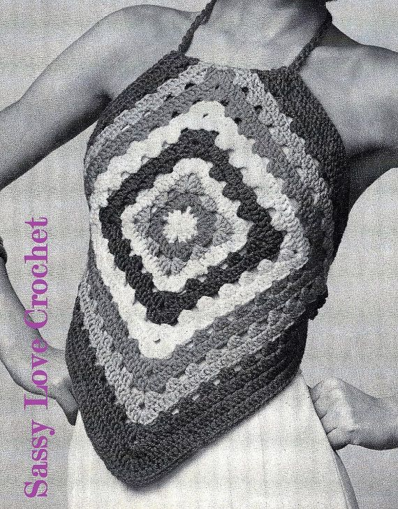 Crochet Easy granny Square Halter Top Pattern by SassyloveCrochet