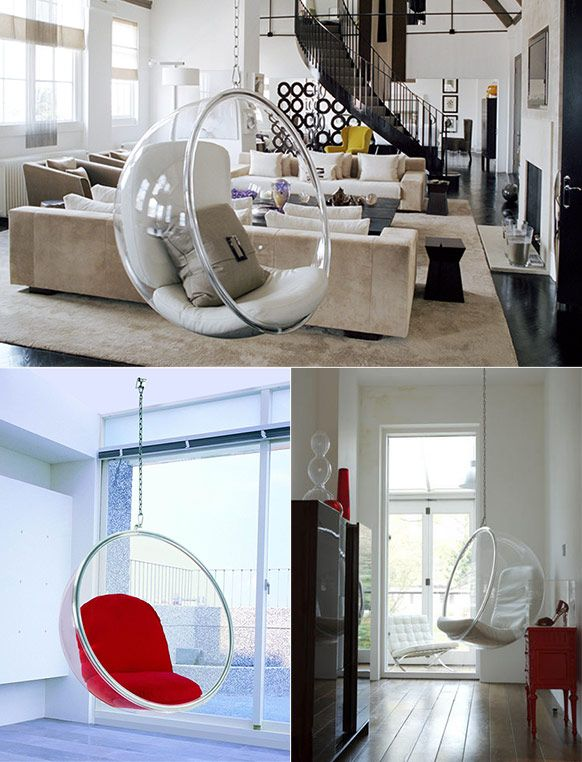 furniture stunning classic modern chairs based trasparent glass bubble chair usage with red and white soft pads also brown cushion in classic home design