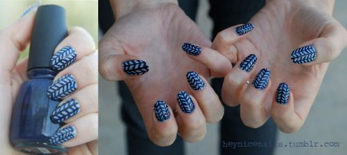 """Herringbone pattern; the base is China Glaze """"Calypso Blue"""" and the stripes are Models' Own """"Misty Grey"""""""