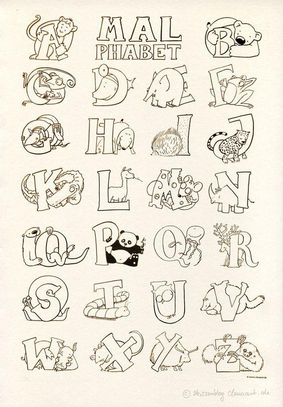 Das Malphabet Alphabet Mit Tieren Ausmalbild Malvorlage Gratis