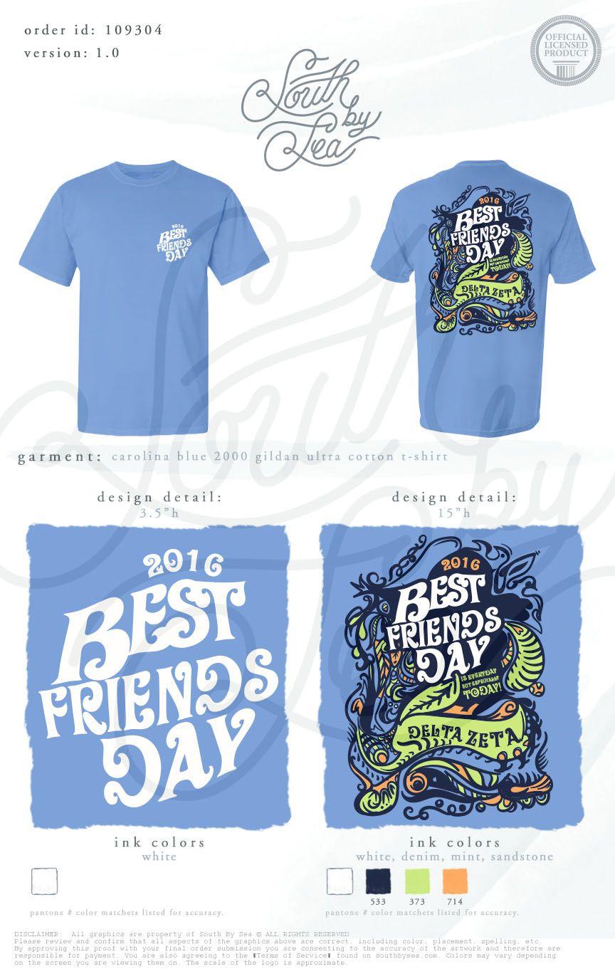 Shirt design for friends - Delta Zeta Dz Best Friends Day Throwback Groovy T Shirt Design