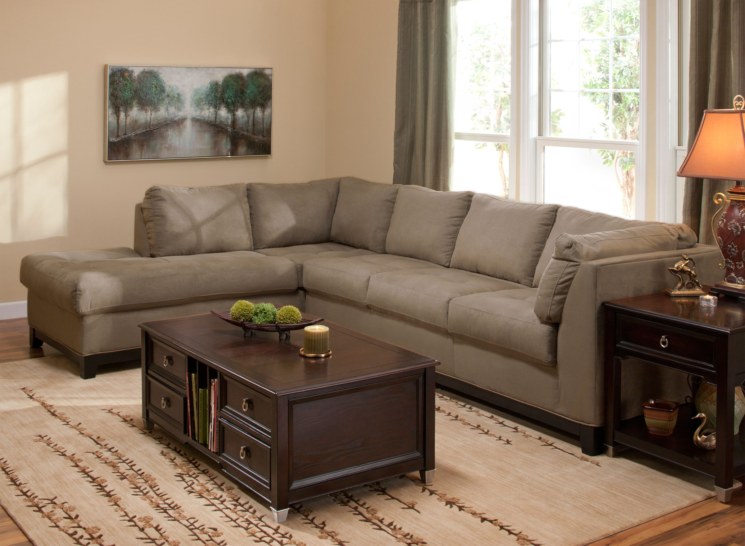 This Contemporary Kathy Ireland Home Wellsley 2 Piece Microfiber Sectional Sofa Features Mocha Colored That Ll Really Help Warm Up Your Living