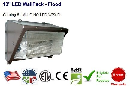 "13"" Flood Wallpack 18-54W - 2,682-7,596 Lumens - Replaces 70-225W HID Color Temperature: 4000-4500K 