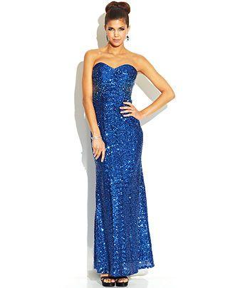 Jump Juniors\' Strapless Sequin Dress - Juniors Prom Dresses - Macy\'s ...