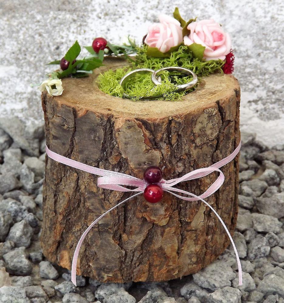 Ringkissen hochzeit ringhalter holz mini baumstamm rosa for Deko baumstamm