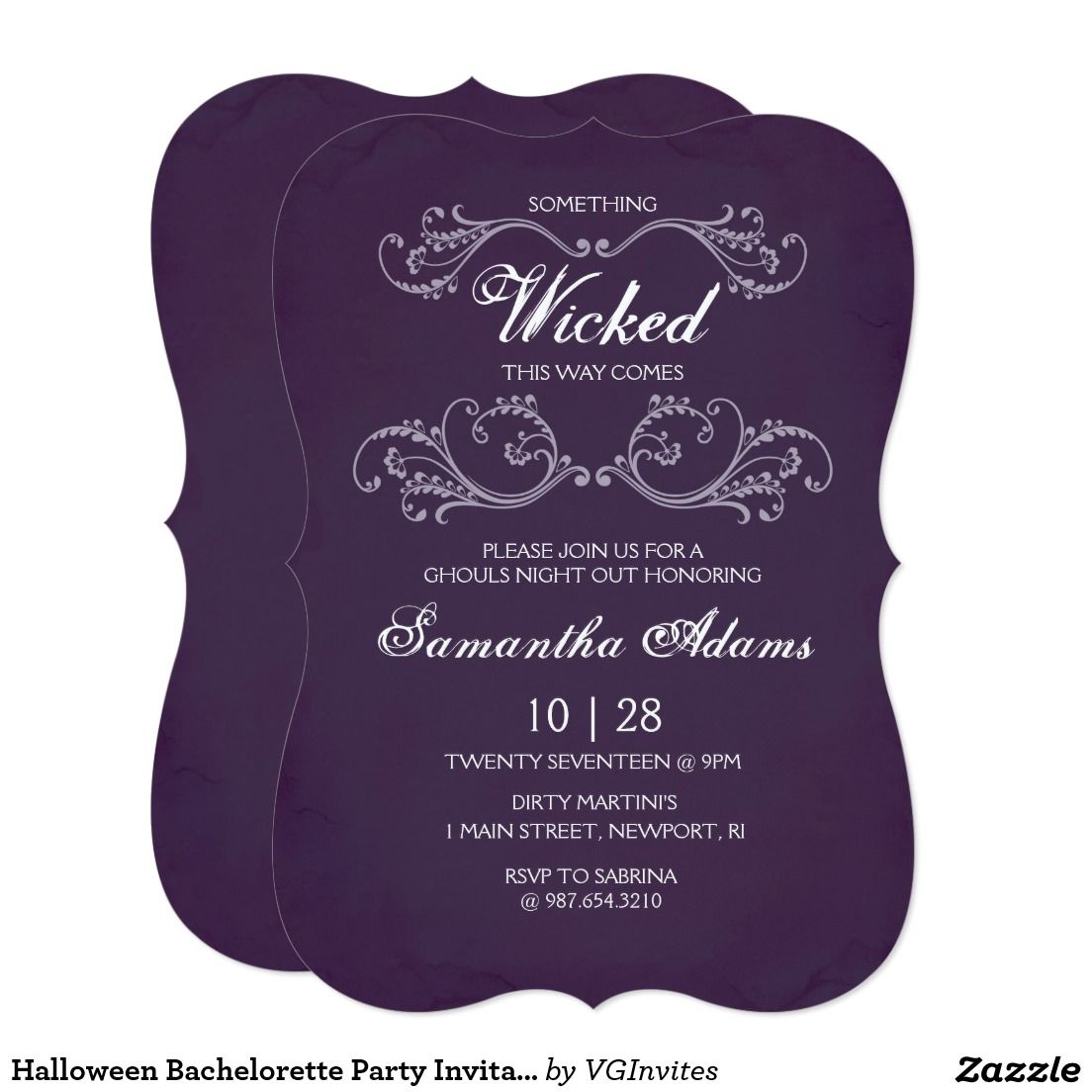 Halloween Bachelorette Party Invitation - Purple   Boo! Halloween ...