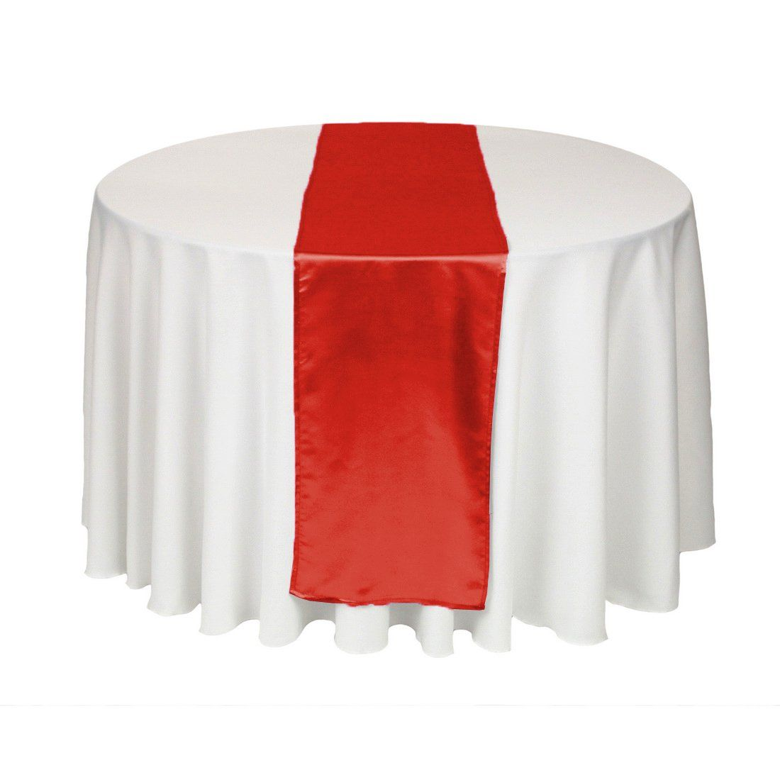 LinenTablecloth 14 x 108-Inch Satin Table Runner Red  Would be nice to do white table cloths with red runners down the center - keep an eye out for cheap linens $5.99 as an add on item.