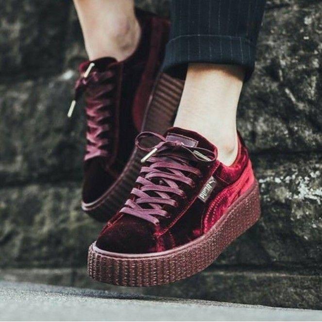 04a08755f75 Rihanna x Puma Velvet Creepers Fenty Red Burgundy Maroon Women s  Fenty X   Puma by  Rihanna  Fashion  Footwear  Sneakers  Apparel  Style  Shoes   FentyXPuma ...