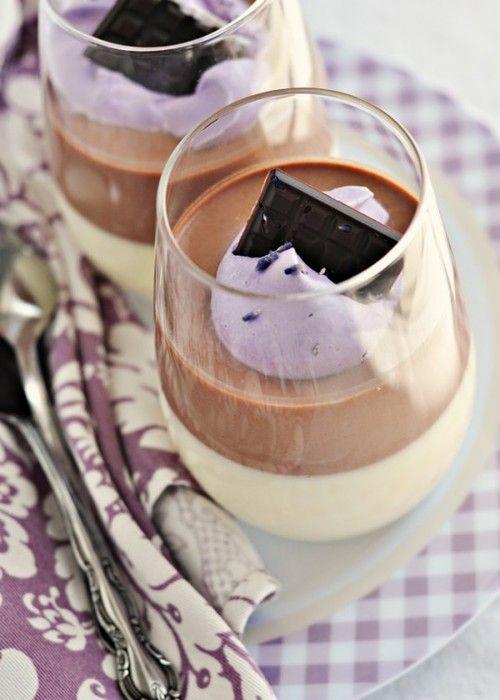 Layered Chocolate Lavender-Vanilla Bean Panna Cotta