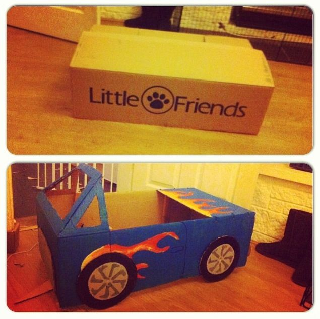 10 Ideas About Cardboard Box Cars On Pinterest: Cardboard Box Car For JD. Few Tester Pots And Some Cable